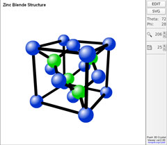 Screen Shot Image of Flash 3D Crystal Viewer User Interface(displaying zinc-blende atomic structure model)